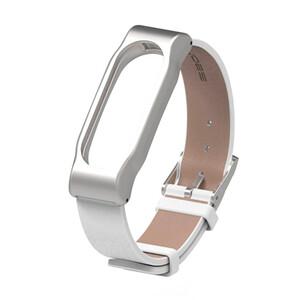 Купить Кожаный ремешок Mijobs White для фитнес-браслета Xiaomi Mi Band 2