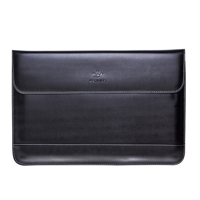 Кожаный чехол Lention Flap Sleeve Black для MacBook 12""