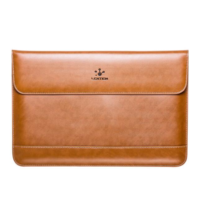 "Кожаный чехол Lention Flap Sleeve Brown для MacBook 12"""