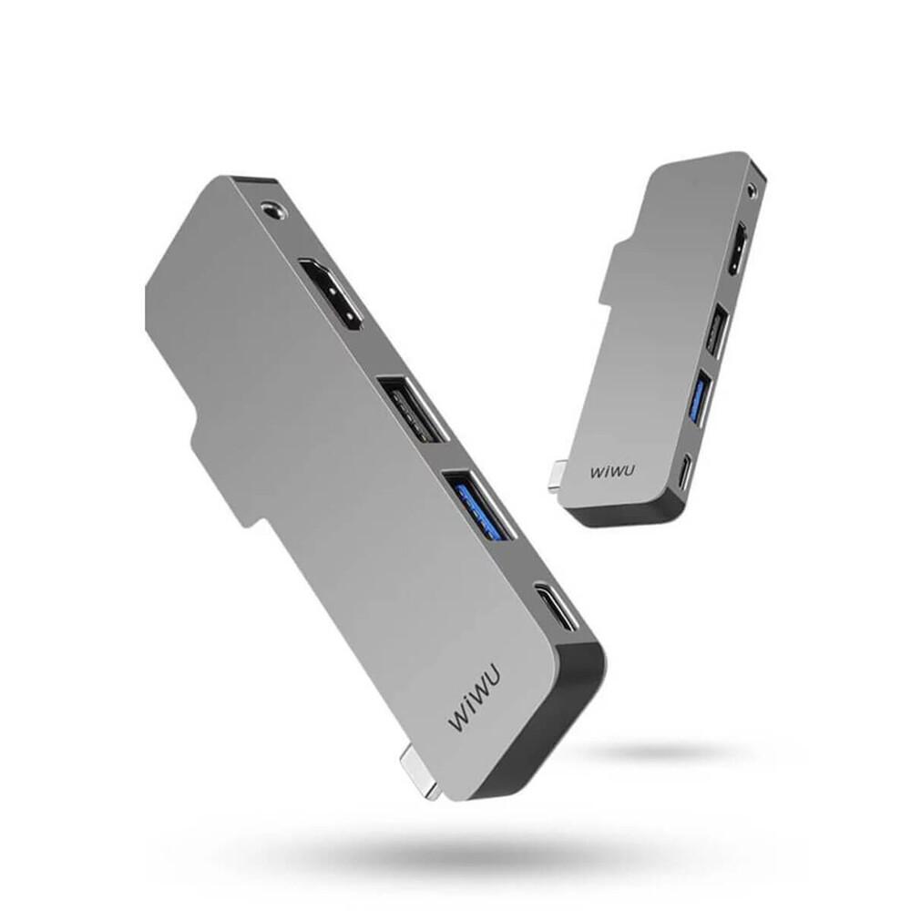 """Купить Хаб USB-C для iPad Pro 11""""   12.9""""   Air 4 WIWU T5 (5 в 1) Gray"""