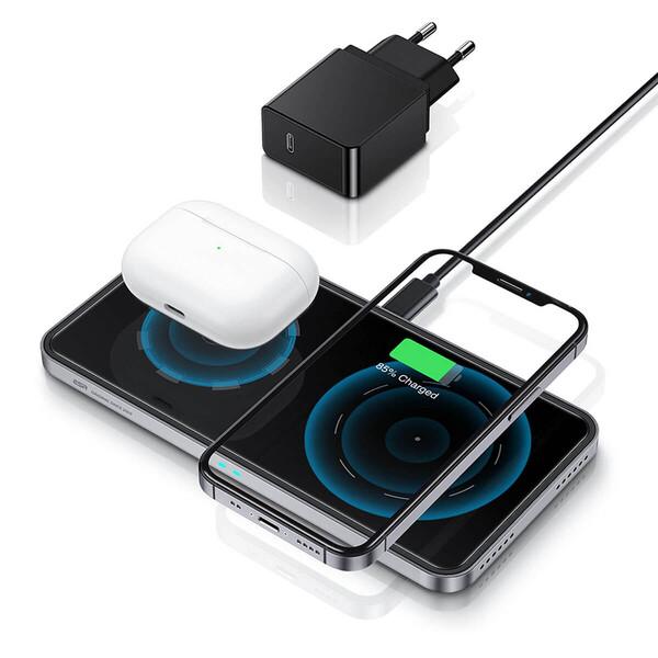 Беспроводная зарядка с MagSafe ESR HaloLock 2 in 1 Magnetic Wireless Charger для iPhone | AirPods