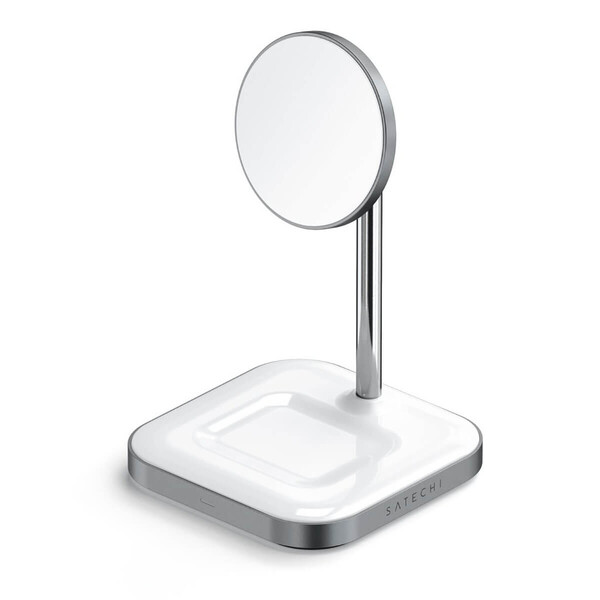 Док-станция MagSafe Satechi Aluminum 2 in 1 Magnetic Wireless Charging Stand для iPhone 12 | AirPods Pro