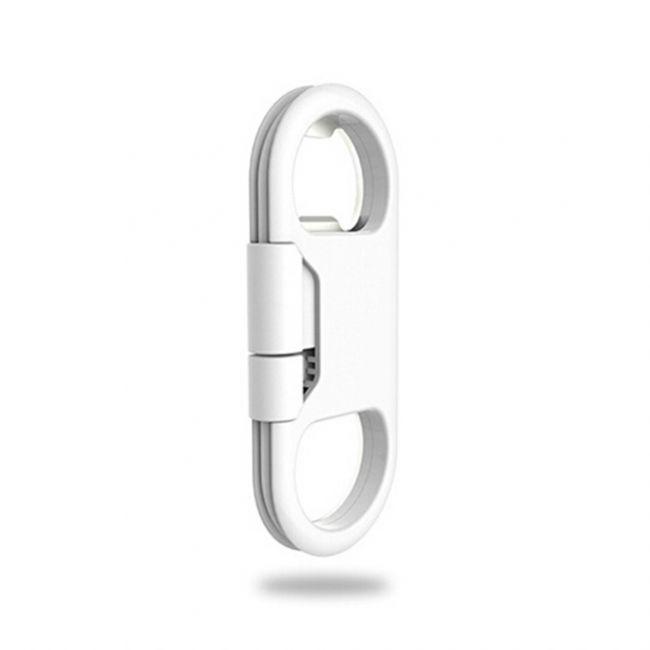 Металлический брелок-кабель/открывашка Maxfind Lightning White для iPhone