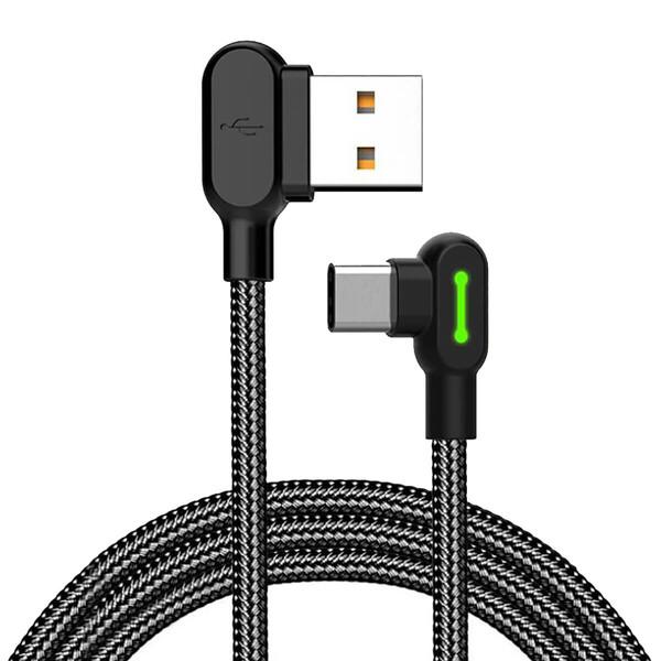 Зарядный кабель Mcdodo 90° Light Cable USB-A to USB-C с LED-индикацией 1.2m