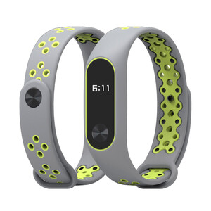 Купить Ремешок Mijobs Sports Version Strap Grey/Green для Xiaomi Mi Band 2