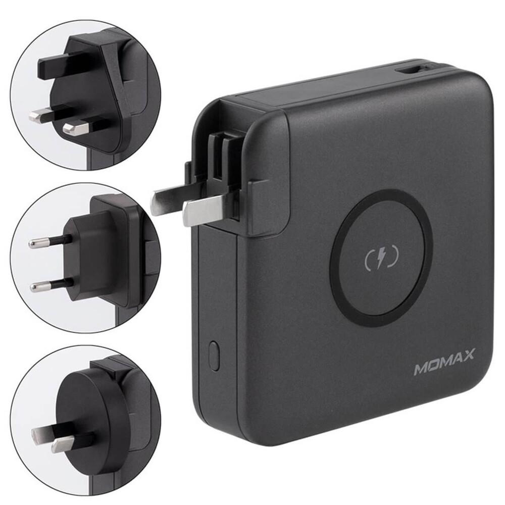 Купить Зарядное устройство с беспроводной зарядкой и Power Bank 6700 mAh Momax Q.Power Plug Wireless Portable PD Black