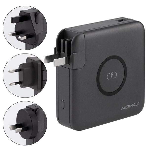 Зарядное устройство с беспроводной зарядкой и Power Bank 6700 mAh Momax Q.Power Plug Wireless Portable PD Black
