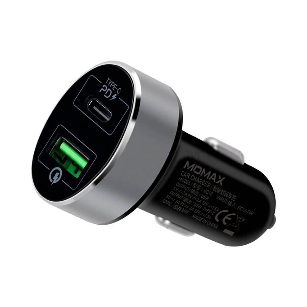 Купить Быстрая автомобильная зарядка Momax UC10 Type-C PD Fast Car Charger 38W для iPhone | iPad