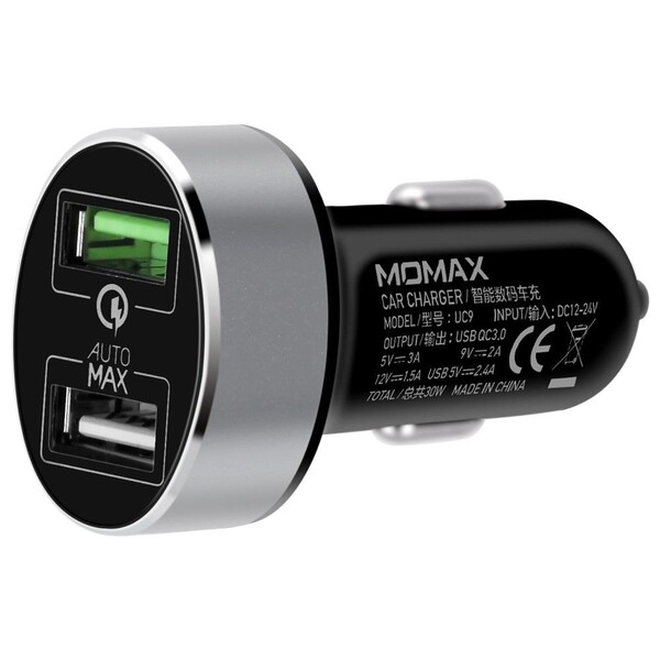 Быстрая автозарядка Momax UC9 Black