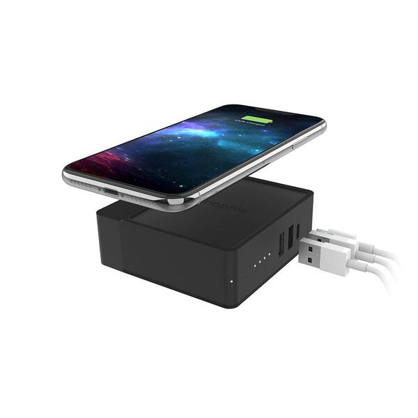 Зарядное устройство с беспроводной зарядкой и внешним аккумулятором Mophie Powerstation Hub 6100mAh + EU адаптер