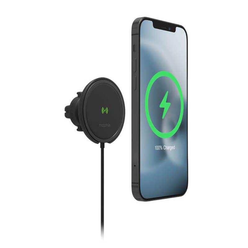 Магнитный автодержатель с беспроводной зарядкой MagSafe Mophie Snap+ Wireless Vent Mount для iPhone 12   12 mini   12 Pro   12 Pro Max