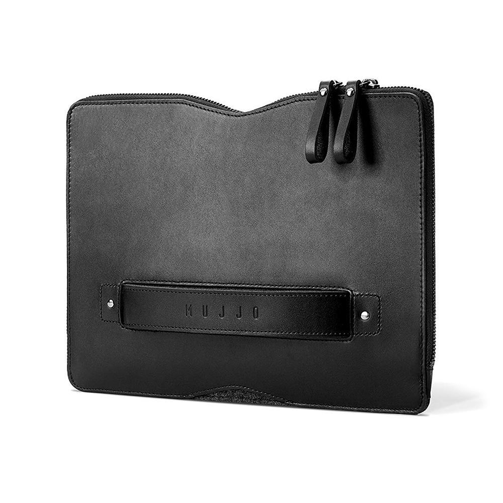 """Купить Кожаный чехол-сумка MUJJO Carry-On Folio Sleeve Black для MacBook 12"""""""