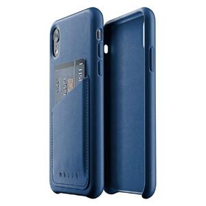 Купить Кожаный чехол с отделением для карт MUJJO Full Leather Wallet Case Monaco Blue для iPhone XR