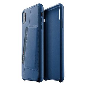 Купить Кожаный чехол с отделением для карт MUJJO Full Leather Wallet Case Monaco Blue для iPhone XS Max