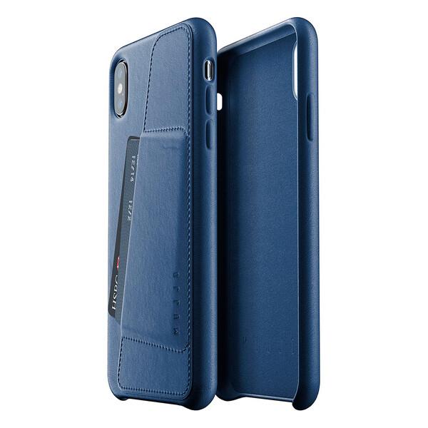 Кожаный чехол с отделением для карт MUJJO Full Leather Wallet Case Monaco Blue для iPhone XS Max