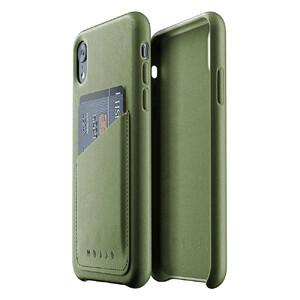 Купить Кожаный чехол с отделением для карт MUJJO Full Leather Wallet Case Olive для iPhone XR