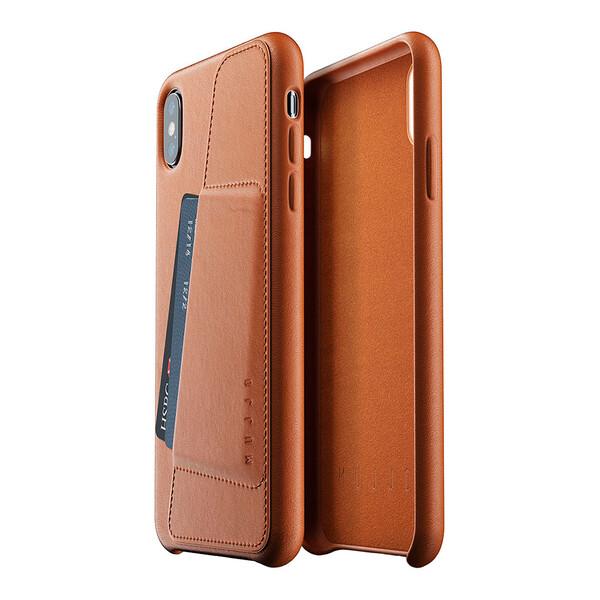 Кожаный чехол с отделением для карт MUJJO Full Leather Wallet Case Tan для iPhone XS Max