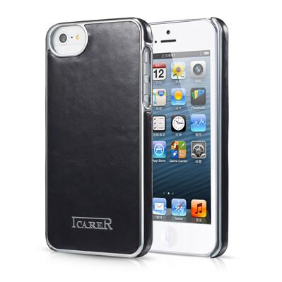 Черная кожаная накладка iCarer Electroplating для iPhone 5/5S/SE