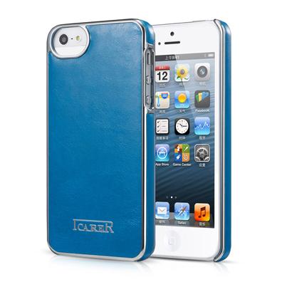 Синяя кожаная накладка iCarer Electroplating для iPhone 5/5S/SE