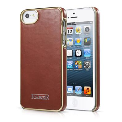 Коричневая кожаная накладка iCarer Electroplating для iPhone 5/5S/SE