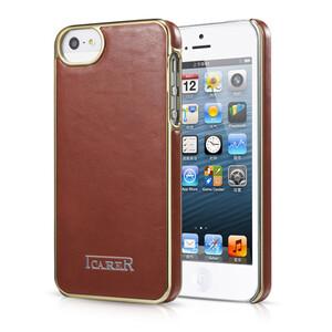 Купить Коричневая кожаная накладка iCarer Electroplating для iPhone 5/5S/SE