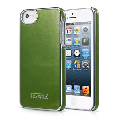 Зеленая кожаная накладка iCarer Electroplating для iPhone 5/5S/SE
