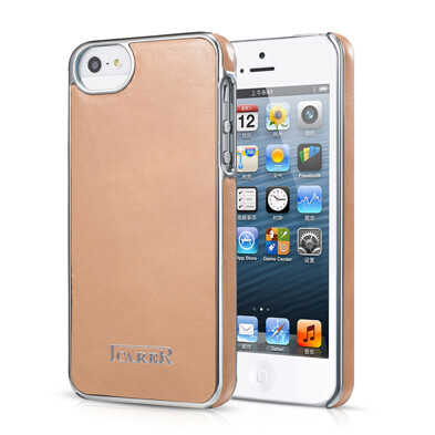 Бежевая кожаная накладка iCarer Electroplating для iPhone 5/5S/SE