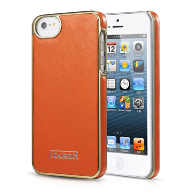 Оранжевая кожаная накладка iCarer Electroplating для iPhone 5/5S/SE