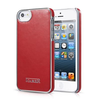 Красная кожаная накладка iCarer Electroplating для iPhone 5/5S/SE