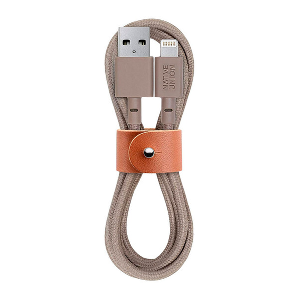 Плетеный кабель Native Union Belt Cable Taupe Lightning to USB 1.2m