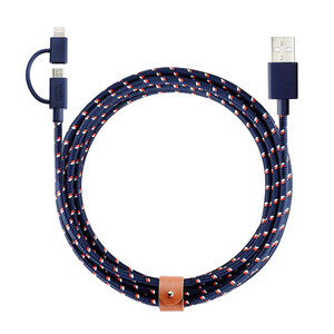 Купить Кабель Native Union Belt Twin Head Nautical Lightning + Micro USB to USB