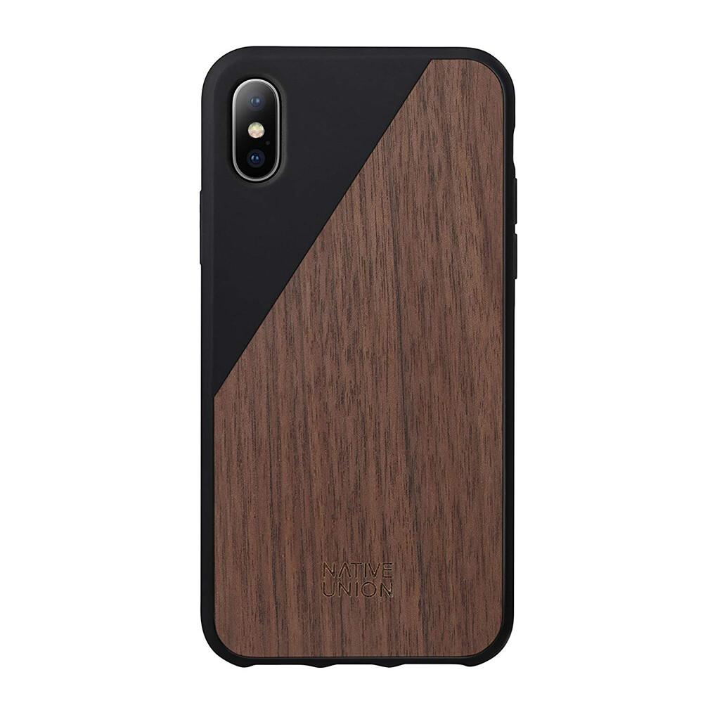 Деревянный чехол Native Union CLIC Wooden Black/Walnut Wood для iPhone X/XS