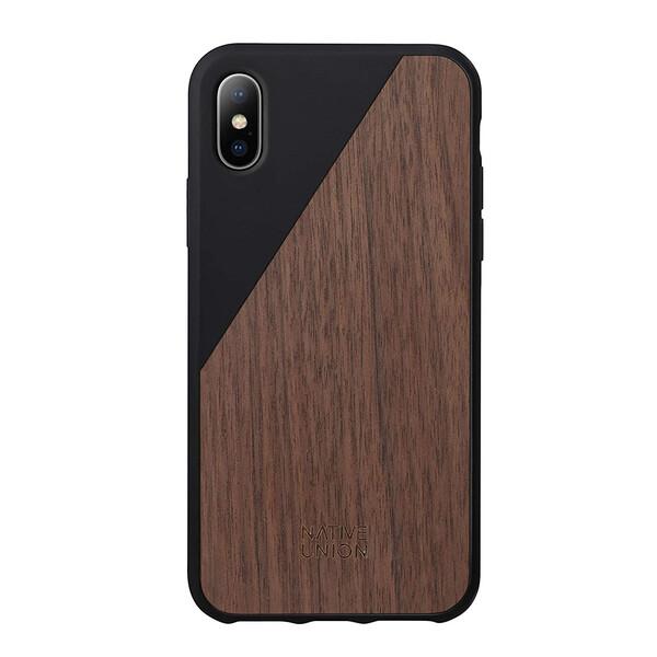 Деревянный чехол Native Union CLIC Wooden Black | Walnut Wood для iPhone X | XS