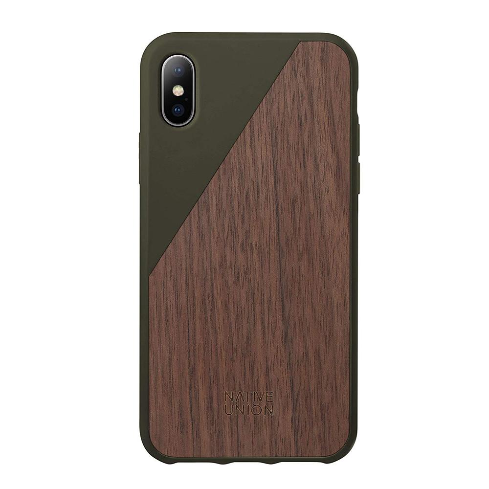 Купить Деревянный чехол Native Union CLIC Wooden Olive | Walnut Wood для iPhone X | XS