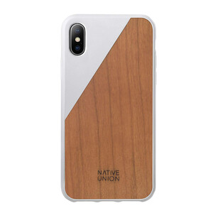 Купить Деревянный чехол Native Union CLIC Wooden White/Cherry Wood для iPhone X/XS