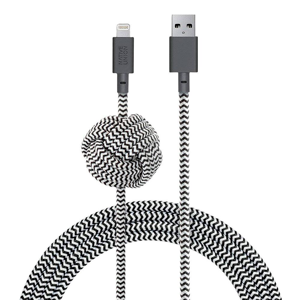 Купить Кабель Native Union Night Cable Zebra Lightning to USB 3m