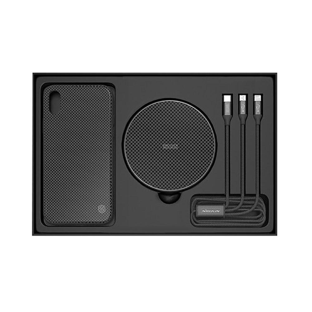 Подарочный комплект Nillkin Fancy Black (чехол + беспроводная зарядка + кабель) для iPhone X/XS