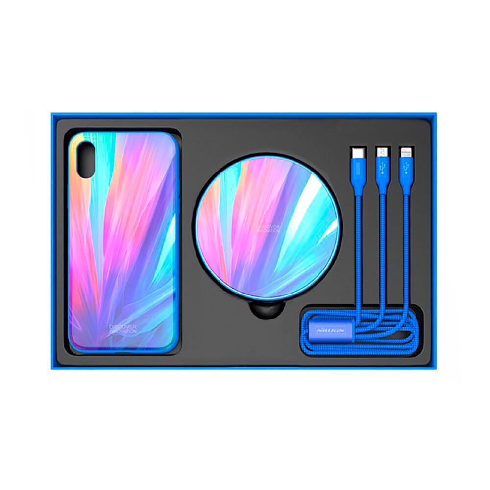 Подарочный комплект Nillkin Fancy Blue (чехол + беспроводная зарядка + кабель) для iPhone X/XS