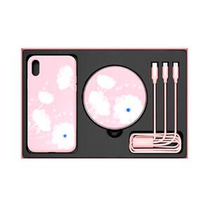 Купить Подарочный комплект Nillkin Fancy Pink (чехол + беспроводная зарядка + кабель) для iPhone X/XS