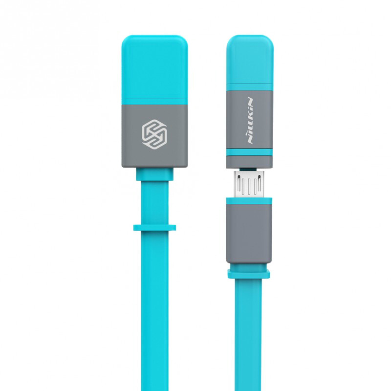 Кабель Nillkin Plus II Micro-USB + Lightning to USB Blue