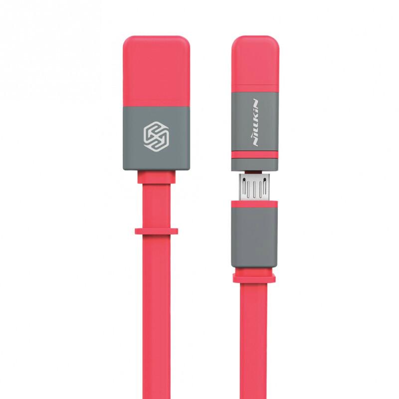 Кабель Nillkin Plus II Micro-USB + Lightning to USB Watermelon Red