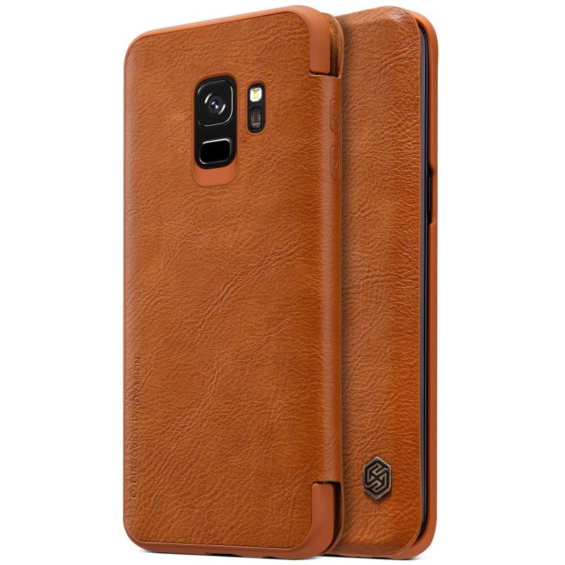 Купить Кожаный чехол-книжка Nillkin Qin Series Brown для Samsung Galaxy S9