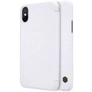 Купить Кожаный чехол-книжка Nillkin Qin Series White для iPhone X/XS