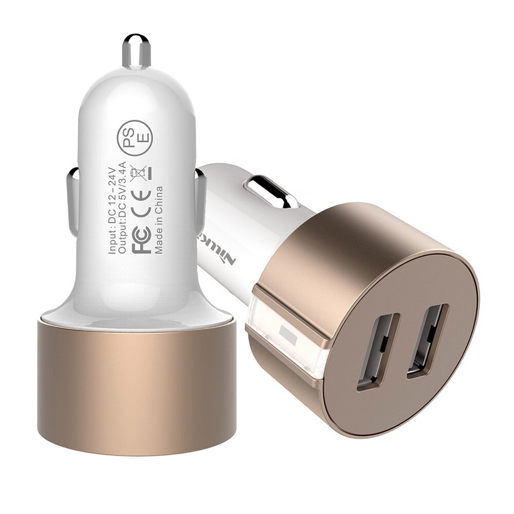 Автозарядка Nillkin Vigor Dual Port USB Gold