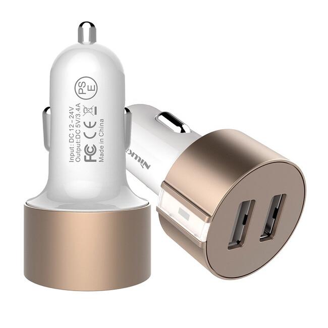 Автозарядка Nillkin Vigor Dual Port USB Gold