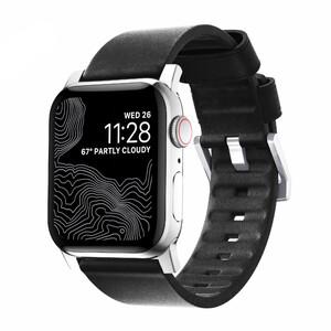 Купить Кожаный ремешок Nomad Active Strap Silver Hardware Black для Apple Watch 44/42mm Series 5/4
