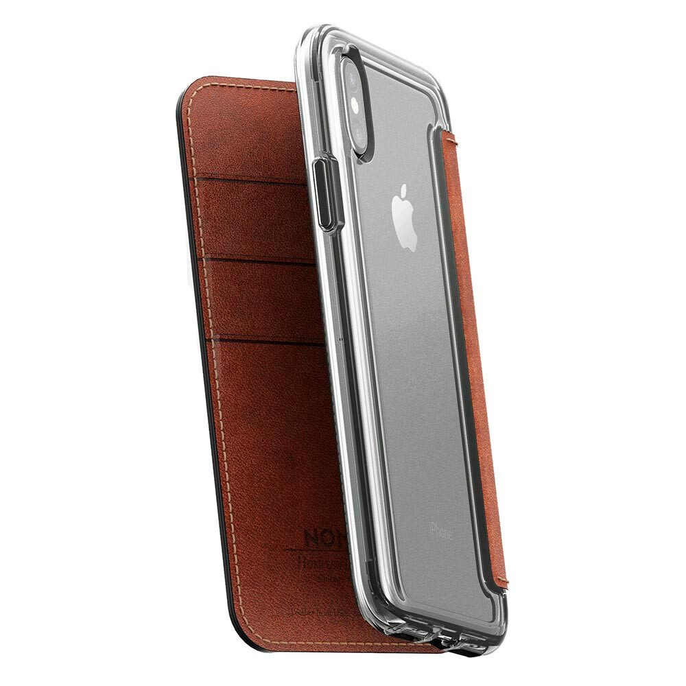 Кожаный флип-чехол Nomad Clear Folio Rustic Brown для iPhone X/XS