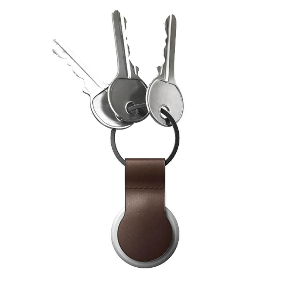Купить Кожаный брелок с кольцом Nomad Leather Loop Rustic Brown для AirTag