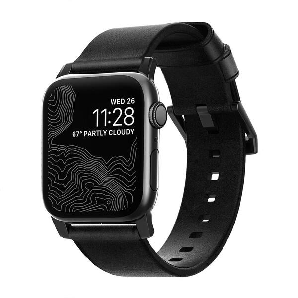 Кожаный ремешок Nomad Modern Strap Black Hardware Black для Apple Watch 42mm   44mm SE   6   5   4   3   2   1