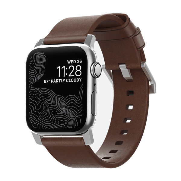 Кожаный ремешок для Apple Watch 42mm   44mm SE   6   5   4   3   2   1 Nomad Modern Strap Silver Hardware Brown